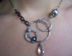 Industrial Evolution Necklace with Topaz and Fresh Water pearls by dna jewelry designs on etsy