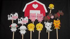 Set of 12 Farm Animal Cupcake Toppers, Farm Animal Themes, Pigs, Cows, Sheep, Horse, Party Decor, Baby Shower, Birthday Parties via Etsy