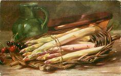 asparagus on shallow basket, few cherries left, green jug back left