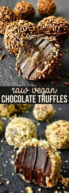 Healthy Raw Vegan Chocolate Truffles {gluten dairy egg peanut soy & refined sugar free vegan paleo} - This super easy recipe makes the most delightful healthy raw vegan chocolate truffles with only the simplest of ingredients. These healthy vegan sw Raw Vegan Desserts, Healthy Vegan Snacks, Sugar Free Desserts, Raw Vegan Recipes, Vegan Foods, Healthy Dessert Recipes, Dairy Free Recipes, Vegan Sweets, Raw Vegan Cheesecake