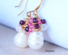 Pearl with Gemstone Clusters Garnets Pink Topaz White by INAYAAZ, $64.23