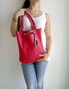 FREE SHIPPING  Red leather bag  Tote leather bag by LaraKlass Nude Bags f3c8431608429