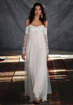 Bohemian wedding dress with sheer sleeves from the 'Romantique' Collection by Claire Pettibone Wholesale Wedding Dresses, Wedding Dresses For Sale, Bohemian Wedding Dresses, Bohemian Bride, Bohemian Summer, Claire Pettibone, Bridal Gowns, Wedding Gowns, Lace Wedding