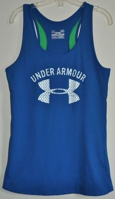 Under Armour Fitted Heat Gear Blue Ribbed Racerback womens Large Tank Top EUC #UnderArmour #TankTop