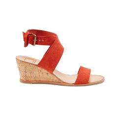 Everything about this wedge shoe I love. The color is fabulous, love the strap at the ankle, and especially the height is right up my alley.