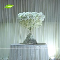 GNW CTR1605010 Elegant wedding decoration Artificial hydrangea tall wedding centerpieces for sale