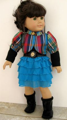 American Girl Doll Clothes:  5 piece Outfit Plaid Shimmer Jacket, Ruffle Skirt, Belt & Boots by ILuvmCreations on Etsy