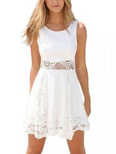 Charming Lace Pelpum Sleeveless Casual Pleated Dress Online - NewChic