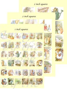 Beatrix Potter's Peter Rabbit Printables, 36 illustrations formatted as 1 inch & 2 inch circles, 60 images total
