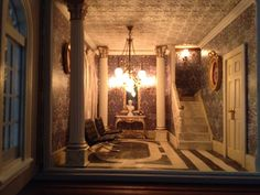 My doll's house's hall. My mother made it.  Miniaturized William Morris wallpaper, Mies van der Rohe's Barcelona chair...
