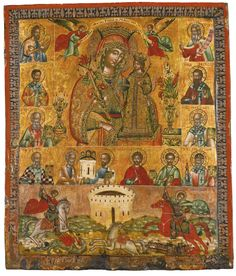 Mother of God of the Unfading Rose with Saints, Greece, 18th century | Lot | Sotheby's