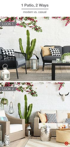 What's your backyard patio style? Go sleek and modern with black wire furniture and outdoor throw pillows with pattern and texture. Add a solid rug to define the space and lanterns and green plants to keep the vibe warm and inviting. If you want cozy and relaxed, try neutral wicker furniture with a striped rug, and finish the area with accents like a woven pouf, hammered-metal table, throw pillows, lanterns and lights.