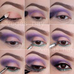 Spring Colors using the 100 elf eyeshadow palette prime eye w/ urban decay p Elf Makeup, Kiss Makeup, Makeup Tips, Hair Makeup, Makeup Ideas, Makeup Stuff, Makeup Tutorials, Elf Eyeshadow Palette, Purple Eyeshadow