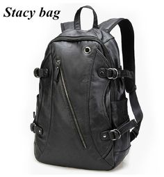 stacy bag hot sale brand high quality men leather backpack male fashion casual travel backpack man travel bag student school bag $38.00