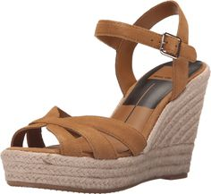 Dolce Vita Women's Tracey Camel Suede Sandal 8 M. Adjustable buckle at ankle. Synthetic lining. Lightly padded footbed. Man-made outsole. Wrapped platform and wedge heel.