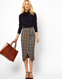 Plaid Check Pencil Skirt