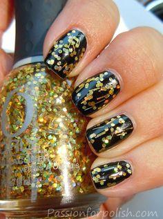 Orly Sashay My Way over black polish