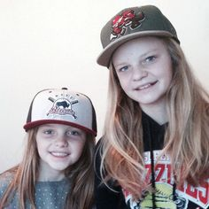 Nicole & Ashley wearing the Wood Bisons & Beaverjax snapback hats.  http://www.capeaters.com/collections/hockey-team-hats/products/beaverjax-forest-green