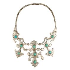Exquisite Sterling And Turquoise Chandelier Necklace, Mexico, 1920's