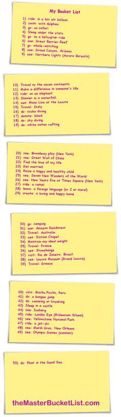 Princess K's Bucket List.