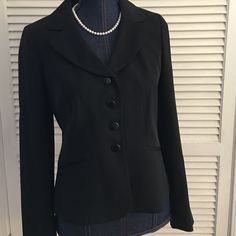 Gently used Ann Taylor Loft 6P pantsuit Beautiful size 6P Ann Taylor Loft pantsuit.  Black with tiny dotted pattern.  Fully lined and well made.  Gently used - hardly worn!  Would make a great addition to your work wardrobe!!! Ann Taylor Loft Jackets & Coats Blazers