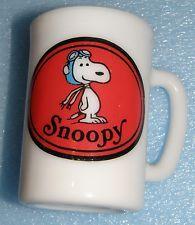 Snoopy Red Baron Vintage 1969 Fire King Avon Milk Glass Coffee Mug New Very Rare