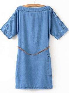 Blue Boat Neck Short Sleeve Pockets Denim Dress pictures