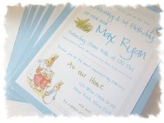 Premium Peter Rabbit Party Invitations - Happy 1st Birthday / Christening - Set of 20 - Kraft envelopes included on Etsy, $64.56 AUD