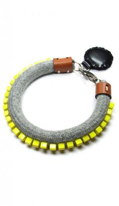 Pixie Handmade Rope Bracelet with Yellow Square Beads