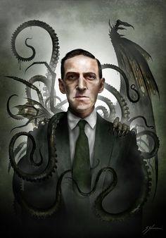 Lovecraft by Sam Shearon🕸💀 Hp Lovecraft, Lovecraft Cthulhu, Arte Horror, Horror Art, Dark Fantasy Art, Dark Art, Necronomicon Lovecraft, Call Of Cthulhu Rpg, Cthulhu Art