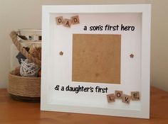 Daddy Birthday, Happy Birthday Cards, Birthday Greeting Cards, Scrabble Crafts, Scrabble Frame, Scrabble Tiles, Fathers Day Frames, Fathers Day Cards, Diy Father's Day Gifts