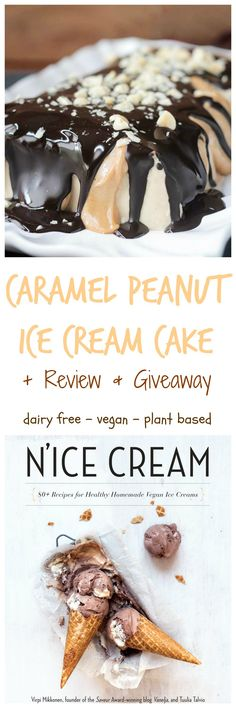 Caramel Peanut Vegan Ice Cream Cake from the cookbook N'Ice Cream - 80 Healthy Homemade Recipes for Vegan Ice Creams. This vegan ice cream cake is so super decadent!! Yet so easy to make! It tastes like a frozen snickers bar. You MUST try this!! My kids inhaled it and were begging for more. Made from whole food ingredients, dairy free, gluten free and refined sugar free!