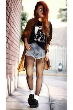 Graphic tee, high waisted shorts, sheer tights, Creepers