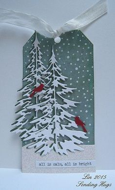 Wednesday, December 9, 2015 Sending Hugs: Tim Holtz Woodlands tree dies, Idea-ology Occasions stickers, Simon's Falling Snow stencil, Signo white gel pen, Impression Obsession cardinals dies