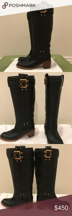 """Chloe Black Pebbled Leather Riding Boots Chloe Boots - beautiful black pebbled Italian Leather, gold buckle detail and gold hardware, pull on styling, 2"""" block heel  - Excellent condition! Only worn a few times comes with original dust bag Chloe Shoes Heeled Boots"""