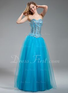 A-Line/Princess Sweetheart Floor-Length Satin Tulle Prom Dress With Beading