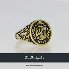 West gold coat of arms ring