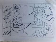 Este es el dibujo obtenido en papel vegetal tamaño A3 realizado sobre la impresión de la composición realizada en Picasa. He aportado algunos cambios para  tratar de geometrizar más las formas originales, ejemplo de estos cambios están en las galletas, la jarra y las flores.
