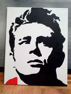 Hand DRAWN graphic canvas paintings; Black & White; James Dean 100% cotton canvas on frame