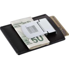 Kritzer Marketing from New York NY USA Polished metal clip holds loose bills. Pocket holds cards and notes.