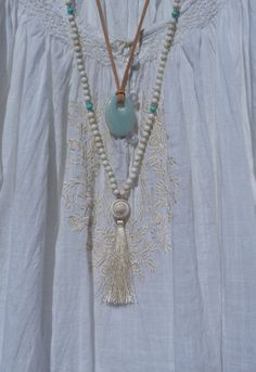 yoga by the sea  white shell tassel necklace  by beachcomberhome, $30.00