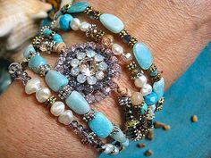 Boho Hippie Gypsy Multi Strand Leather, Fresh Water Pearl, Aqua Terra, Turquoise, Beaded Bohemian Bracelet 925 Sterling Silver...OOAK   by LeatherDiva, $89.00