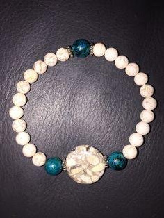 Unisex beaded stacking bracelet, mala beads, howlite and teal by CustomBeadsByDani on Etsy