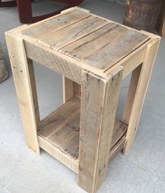 "Pallet nightstand 16""W x 14""D x 26""H raw finish sanded no stain yet"
