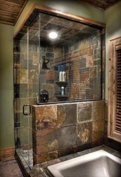Love the tile and wood