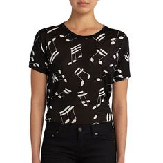 Saint Laurent Music Note Cotton Tee ($515) ❤ liked on Polyvore featuring tops, t-shirts, apparel & accessories, short sleeve tops, cotton pullover, yves saint laurent tee, yves saint laurent t shirt and short sleeve crew neck t shirt