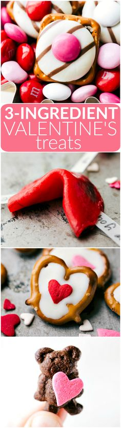 4 simple to make Valentine's Day Treats: heart hugs pretzels, love fortune cookies, mini Valentine bear holding a heart, and white chocolate heart pretzels. Each recipe requires 3 ingredients or less to make! Video tutorial included! Via chelseasmessyapron.com