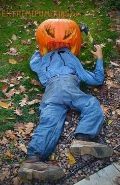 Large pumpkin decoration eating a man