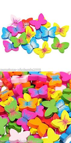 Wood 179274: Wholesale W09 Wooden Loose Beads Charm Butterfly Pattern Mixed 20Mm X15mm BUY IT NOW ONLY: $157.25