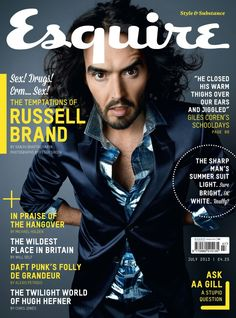 Russell Brand on the front cover of Esquire magazine Magazine Layout Design, Magazine Cover Design, Russell Brand Quotes, Magazine Front Cover, Magazine Covers, Brighten Whites, Esquire Uk, Gq, Cover Boy